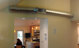 "Some homeowners choose to put ductwork in the open due to space constraints; others do it for the ""industrial"" look."