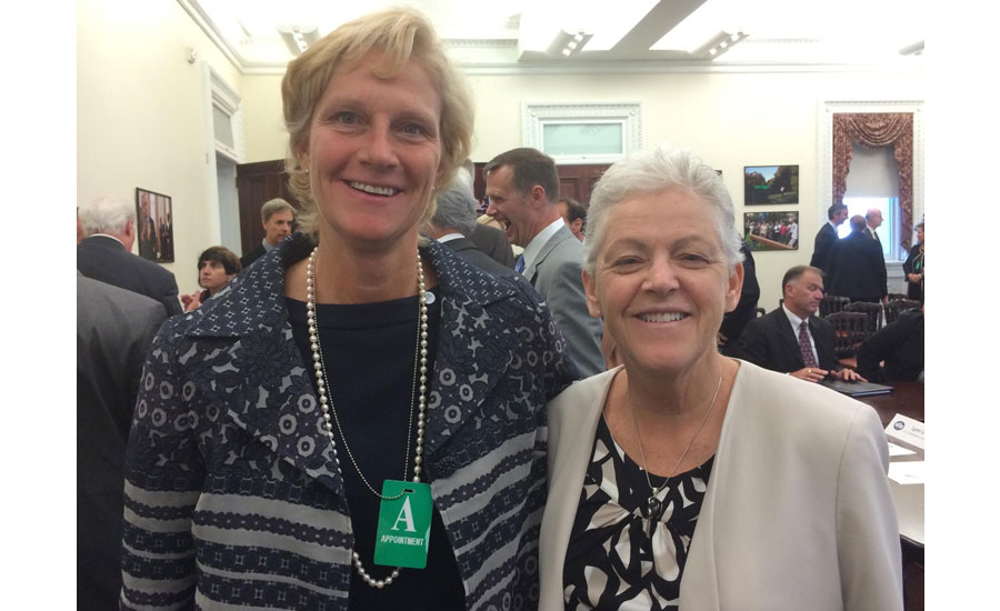 From left to right: Laura Wand, vice president, global chiller solutions at Johnson Controls Building Efficiency Business, and Gina McCarthy, Environmental Protection Agency administrator.