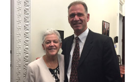 John Galyen, president of Danfoss North America, poses for a photo with U.S. Environmental Protection Agency (EPA) Administrator Gina McCarthy during a White House Industry Leader Roundtable on high-GWP refrigerants.