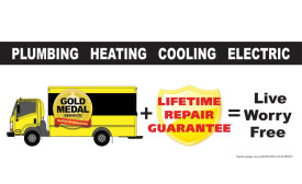 APPEALING TO THE MASSES: Gold Medal Service, East Brunswick, New Jersey, advertises its Lifetime Repair Guarantee on local billboards.