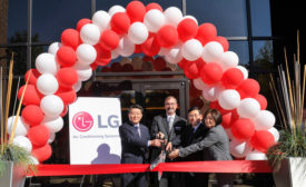 The official ribbon cutting at the grand opening of LG Electronics USA Air Conditioning Systems headquarters on Wednesday, Nov. 11, 2015, in Alpharetta, Georgia.