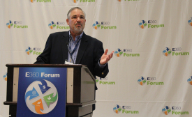 Bob Labbett, vice president of communications and channel marketing, Emerson Climate Technologies Inc., welcomes attendees to the fourth installment of Emerson's E360 event, held Sept. 3 at the Westin Dallas Fort Worth Airport in Dallas.