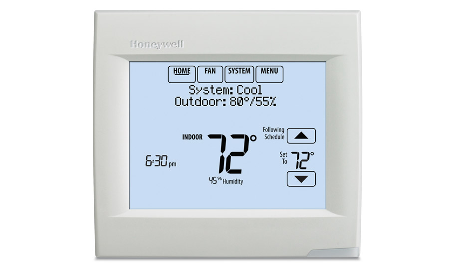 The VisionPRO 8000 Thermostat functions like a mobile device with a touchscreen and menu-driven programming.