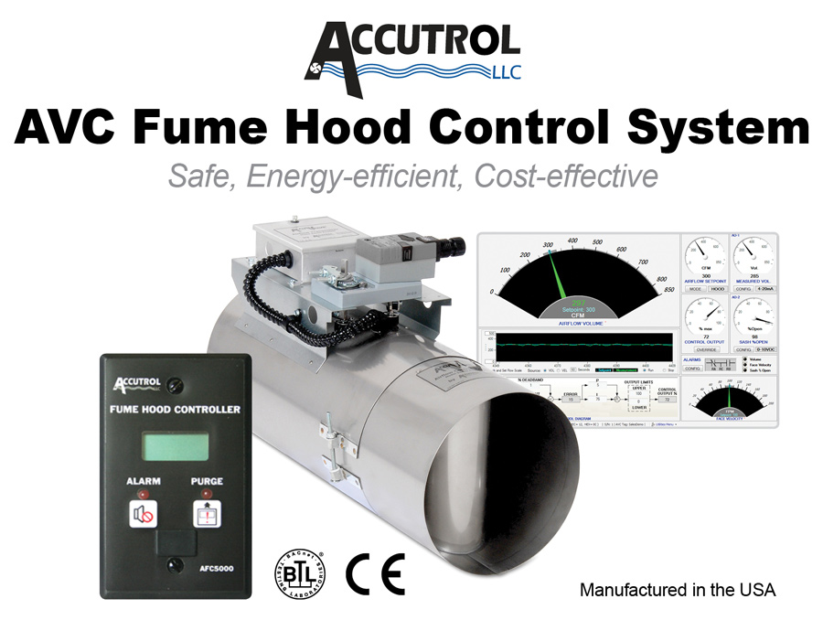 The Accutrol AVC Fume Hood Control System is designed for use in variable air volume (VAV) fume hoods.