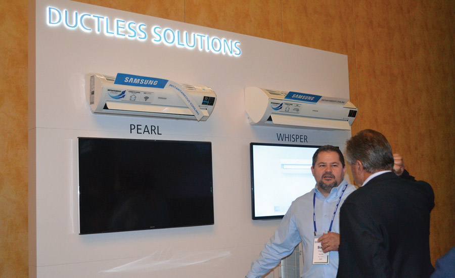 Samsung HVAC highlighted its Pearl and Whisper mini-split units during the product expo at its annual sales meeting.