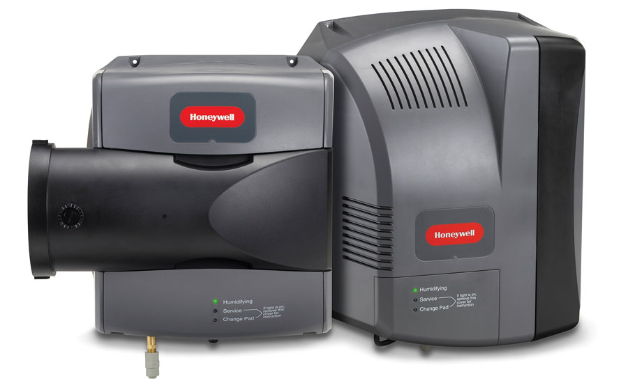 Honeywell's TrueEase™ Evaporative Humidifier System only runs water and air when humidity is called for and features user-friendly pad access for easy maintenance and upkeep.