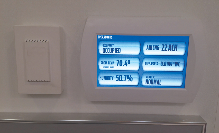 Monitors in the operating rooms at the Cleveland Clinic track the rooms' temperatures, pressures, humidity levels, and air changes per hour.