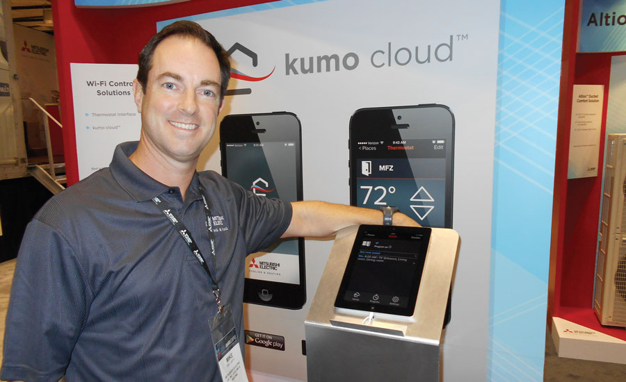 Mike Smith, senior marketing manager, residential, Mitsubishi Electric U.S. Cooling & Heating, shows off the kumo cloud home control system.