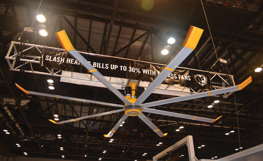 Big Ass Solutions displayed its new Powerfoil X3.0 industrial fan, which optimized to provide more airflow and a larger coverage area, at the AHR Expo.