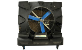 This 48-inch portable evaporative cooler from Portacool LLC, which is available at 28,500 cfm, is designed  for industrial applications. PHOTO COURTESY OF PORTACOOL