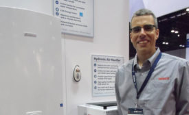 Bosch's Tom Kelly shows how the company's new hydronic air handlers can pair with the Greentherm condensing tankless water heater.