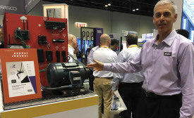 Paul Goldman, vice president of marketing and communications, Regal-Beloit Corp., highlights a Browning-brand notched belt application at the 2016 AHR Expo in Orlando, Florida.