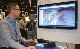 David Burczyk, segment manager, field solutions MEP division, Trimble Navigation Ltd., demonstrates Trimble's new EdgeWise software, which generates automated modeling from scanned data.