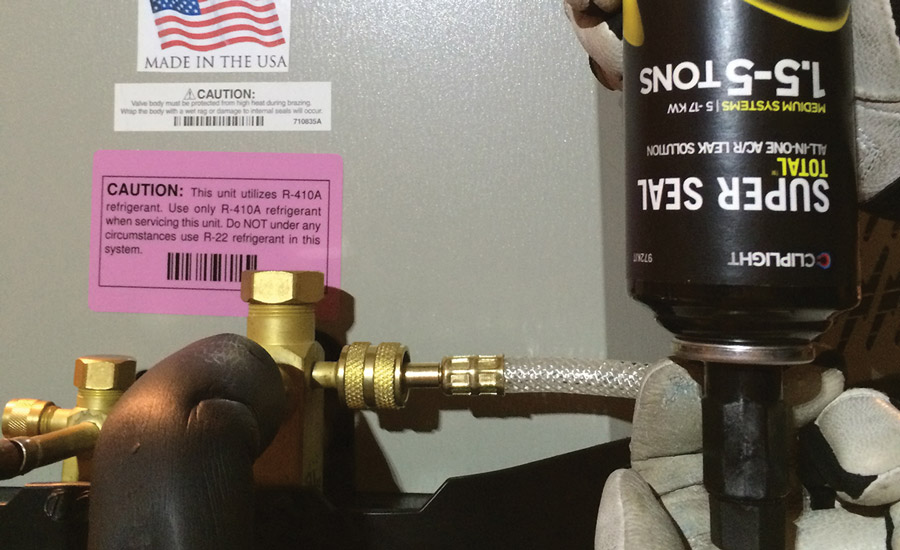 Do you use refrigerant leak stop agents 2016 04 04 achrnews a tech installs cliplights super seal total into a system photo courtesy of cliplight manufacturing fandeluxe Gallery