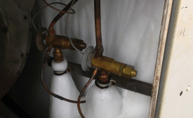 Figure 1: A system refrigerant undercharge caused these two parallel evaporators to freeze.