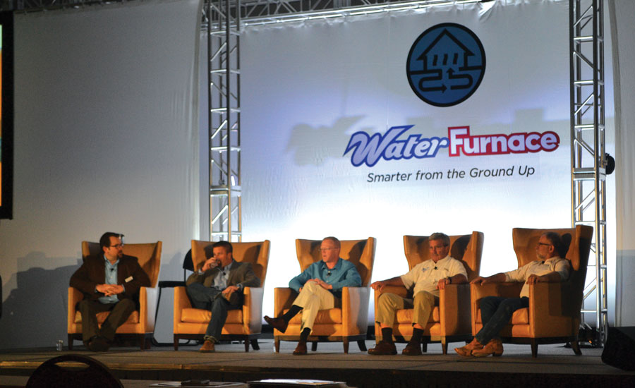 A Dealer Success Panel answered audience questions about geothermal best practices, tax credits, marketing, and more during WaterFurnace Intl. Inc.'s Annual Sales Meeting in Nashville.