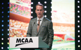 NFL quarterback Peyton Manning talks with MCAA members about leadership and teamwork.