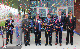 The ribbon-cutting ceremony at Emerson's Helix on the University of Dayton campus