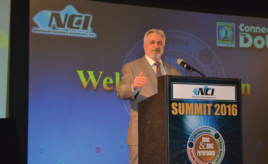Dominick Guarino, CEO, of the National Comfort Institute (NCI) addresses attendees at its 13th annual Summit conference in Savannah, Georgia. Guarino also updated members on new trade tools and changes at NCI.