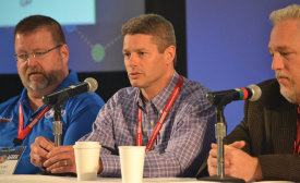 Rob Basnett, president and owner of Basnett Plumbing, Heating, & Air Conditioning in Littleton, Massachusetts (Center), answers questions from attendees during a contractor panel at NCI's Summit conference.