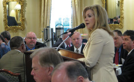 U.S. Rep. Marsha Blackburn, R-Tennessee, discusses overregulation with HARDI members over breakfast at the Capitol Hill Club.