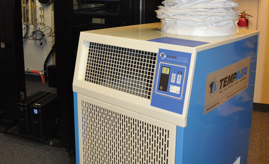 Heat-sensitive information technology (IT) equipment may require spot cooling to prevent the equipment from malfunctioning, especially during HVAC system maintenance or replacement