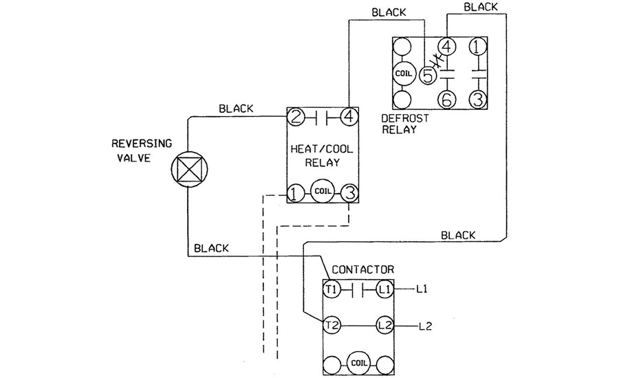 Partial diagram of heat pump electrical system