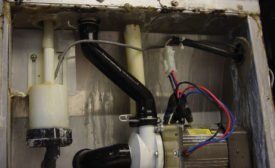 bacterial and biological film growth occurred under the ice-making area of an ice machine