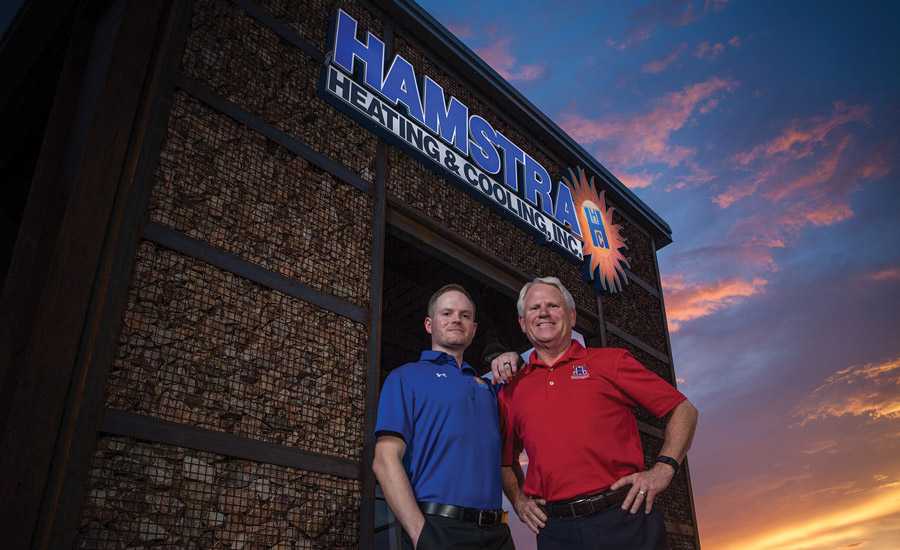 Wade Hamstra (left) and his dad, Jeff Hamstra (right), are the third- and second-generation owners of Tucson, Arizona-based Hamstra Heating & Cooling Inc.