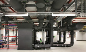 Armacell's AP Armaflex protects against condensation and reduces the possibility of mold or any other bacteria or microbial growth on the insulation in this chilled water system.