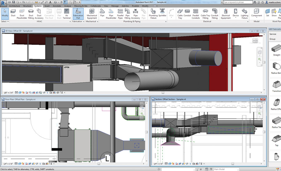 Autodesk Revit software uses manufacturer-specific content to help generate better estimates, create more accurate and detailed models, and directly drive MEP fabrication. Photo courtesy of Autodesk Inc.