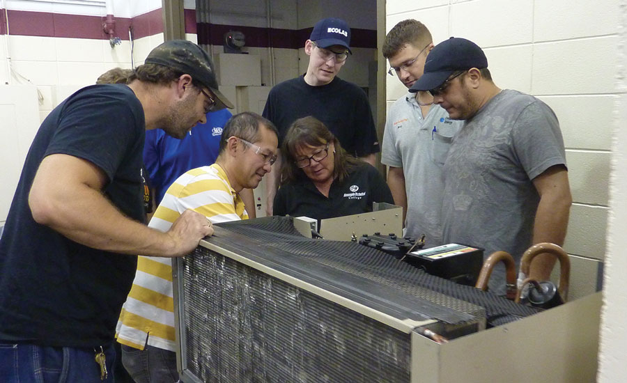 Of the six HVACR instructors at Hennepin Tech, four, including Rhonda Wiggins, are program alumni. Photo courtesy of Hennepin Technical College