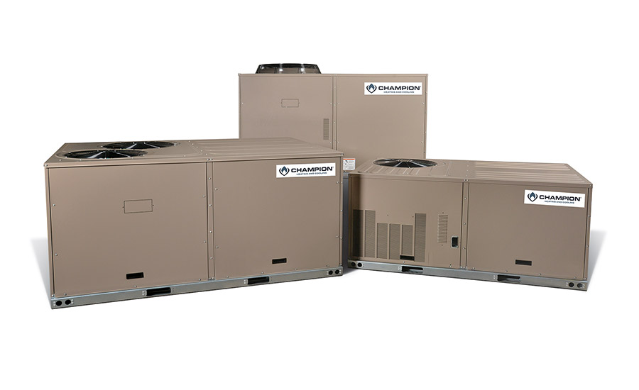 Champion: Direct-replacement packaged heat pumps: XYE04-09 (mid-efficiency heat pumps) and XXE12 (standard efficiency heat pump)