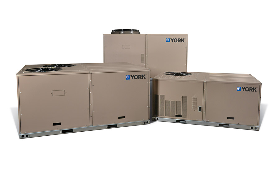 York: Direct Fit™ packaged heat pumps: XYE04-09 (mid-efficiency heat pump) and XXE12 (standard efficiency heat pump)