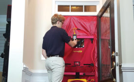A blower door is a popular tool for home-performance contractors to measure the air tightness of a home and to help locate air leakage in the structure's envelope.