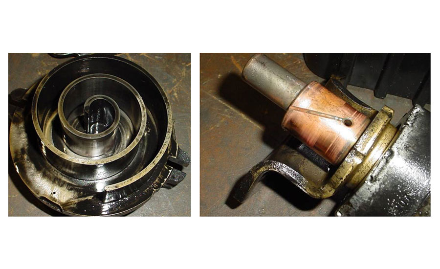 troubleshooting a compressor burnout 2017 03 27 achrnewsburnt to a crisp a scroll member (left) is blackened due to burned oil and winding insulation from a burnout a scroll crankshaft (right) from a compressor