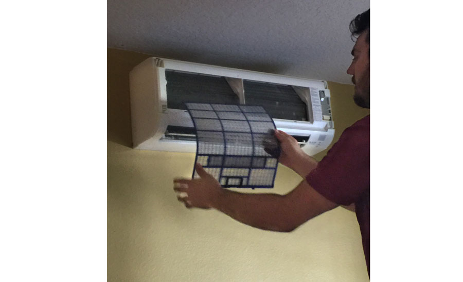 Remove the ductless air filter for cleaning - Ductless Systems - ACHR