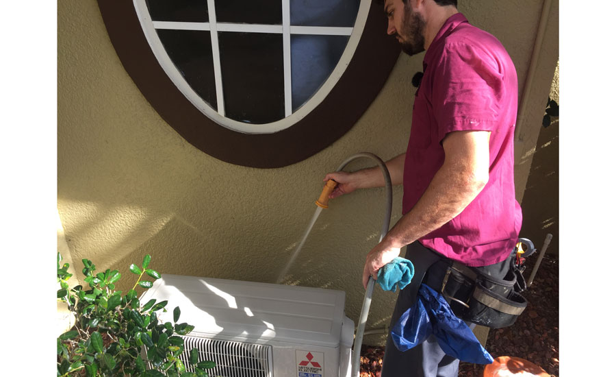 Washing a ductless condenser coil — Rectorseal Desolv™ — used to clean the evaporator in place - Ductless Systems - ACHR