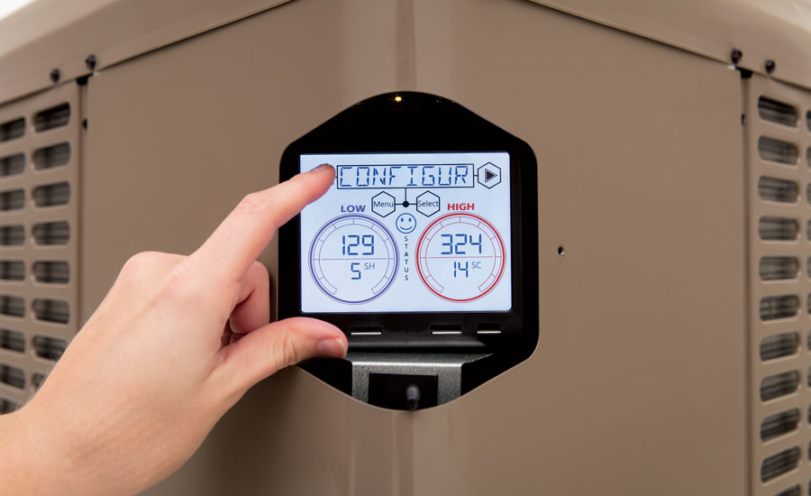 A digital screen on the corner of the York Affinity Heat Pumps displays various refrigerant pressures and temperatures. - ACHR