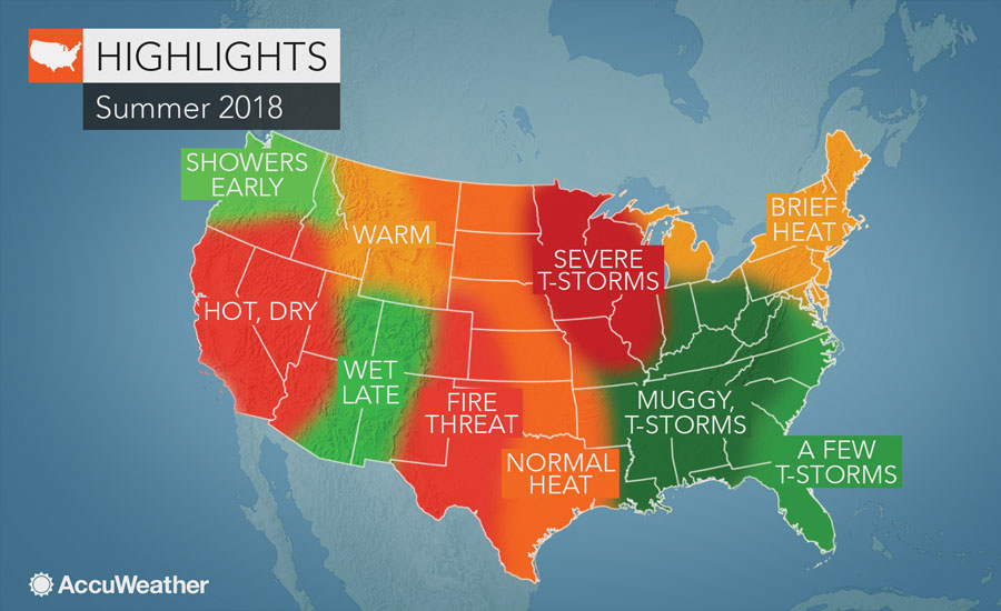 2018 Summer Weather Forecast For Contractors Nationwide 2018 06 11 - Us-map-weather-forecast