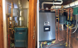 Before (left), this home had a typical closet hydronic space. Now (right) it includes a new, high-efficiency gas boiler, Taco zone control, and two 007e ECM circulators for well-balanced heat distribution. - ACHR
