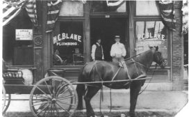 "a photo of a horse and buggy outside a storefront with the words ""H.C. BLAKE PLUMBING"" - ACHR"