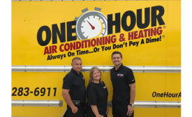 Keith (left) and Chris (middle) Hufsey, owners of One Hour Heating & Air Conditioning of Azle, Texas, and their son, Dustin Hofsey (right), general manager. - ACHR