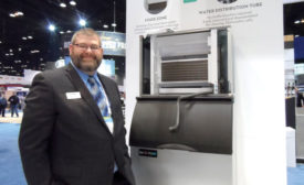 Brian Rakers, Midwest regional manager, Ice-O-Matic, demonstrated how easy it is to clean the new Elevation Series of ice machines. - ACHR News