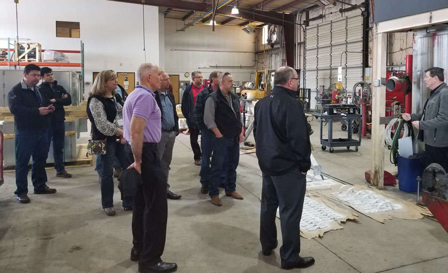Trotter explains A&G's tool management program to attendees of The Unified Group's Safety Directors Forum, who toured its site last month. - The NEWS - ACHR