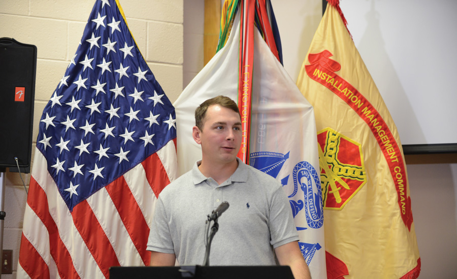 SSG Dillon Cable, now a plumbing technician at Hiller's Memphis, Tennessee, branch, speaks at graduation. As of June 22, the Transition to Trades program has produced 322 graduates. - The ACHR News