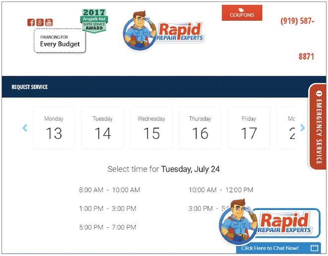 The Rapid Repair Experts website. - The ACHR News
