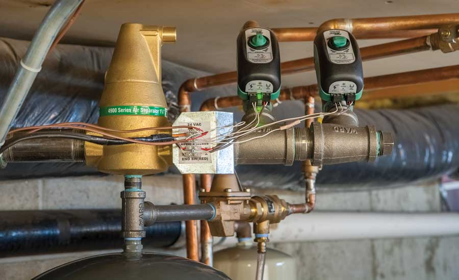 Two Taco Zone Sentry zone valves and a 4900 air separator used for the system supply header. - The ACHR News