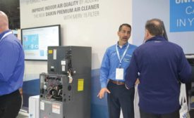 Daikin reps discuss the benefits of the Daikin Fit system with AHR Expo attendees. - The ACHR News
