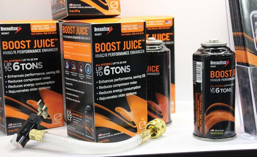 Boost Juice, offered in a can-and-hose or injectable solution format, lowers energy costs to reduce the amperage draw up to 22 percent on running systems. - The ACHR News
